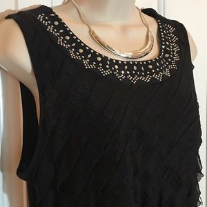Tops - Sleeveless Black Ruffled Tank Top